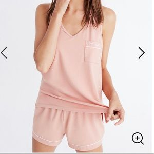 Madewell Embroidered Knit Pajama Tank Top Shorts